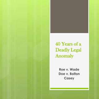 40 Years of a Deadly Legal Anomaly