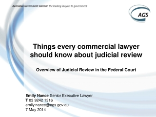 Things every commercial lawyer should know about judicial review Overview of Judicial Review in the Federal Court