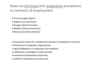 Rules on  dismissal  and  resignation  procedures  in contracts of employment