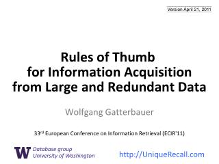 Rules of Thumb  for Information Acquisition from Large and Redundant Data