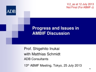 Progress and Issues in AMBIF  Discussion