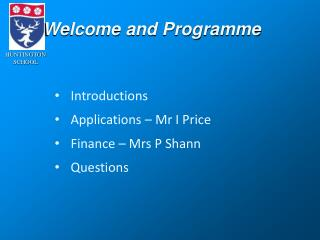 Welcome and Programme