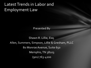 Latest Trends in Labor and Employment Law