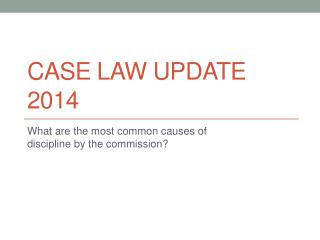 Case law update 2014