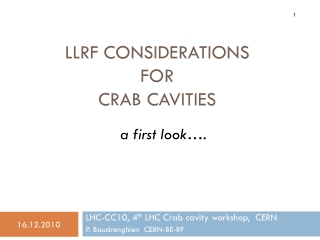 LLRF considerations  for  crab cavities