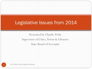 Legislative Issues from 2014