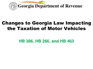 Changes to Georgia Law Impacting the Taxation of Motor Vehicles