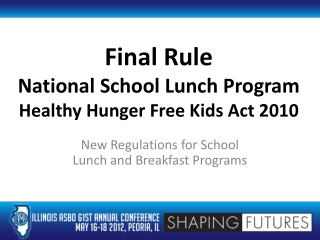 Final Rule National School Lunch Program Healthy Hunger Free Kids Act 2010