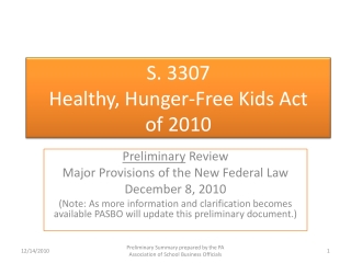 S. 3307 Healthy, Hunger-Free Kids Act  of  2010