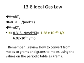 13-8 Ideal Gas Law