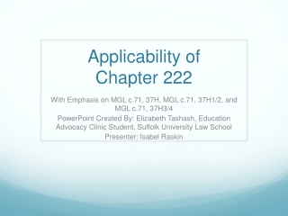 Applicability of  Chapter 222