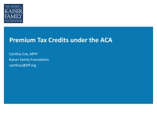 Premium Tax Credits under the ACA