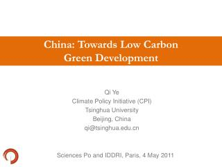 China: Towards Low Carbon  Green Development