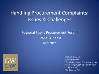 Handling Procurement Complaints: Issues & Challenges
