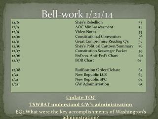 Bell-work 1/21/14