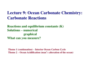 Lecture 9: Ocean Carbonate Chemistry: Carbonate Reactions Reactions and equilibrium constants (K) Solutions – numerical
