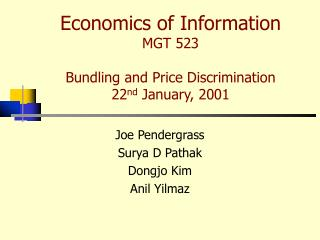 economics of information mgt 523  bundling and price discrimination 22nd january, 2001