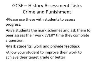 GCSE – History Assessment Tasks Crime and Punishment