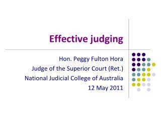 Effective judging