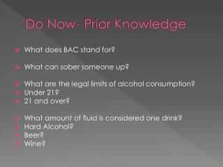 Do Now- Prior Knowledge