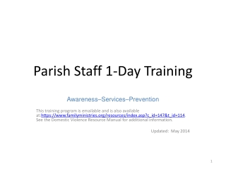 Parish Staff  1 -Day Training
