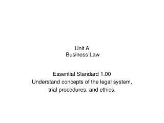Unit A  Business Law