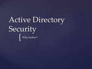 Active Directory Security