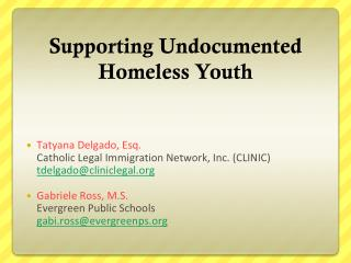 Supporting Undocumented Homeless Youth