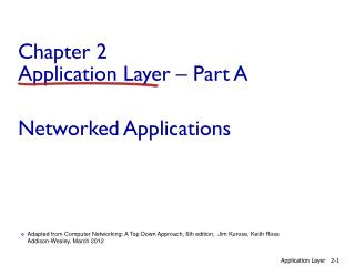 Chapter 2 Application  Layer � Part A Networked Applications