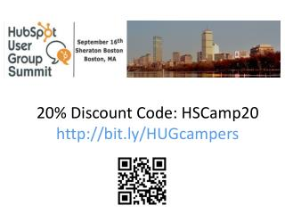 20% Discount Code: HSCamp20 http://bit.ly/HUGcampers