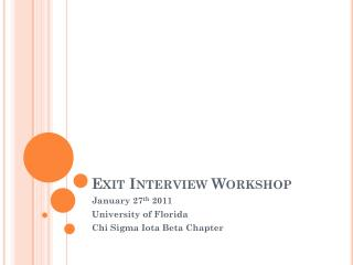 Exit Interview Workshop