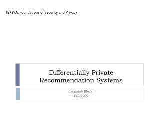 Differentially Private Recommendation Systems