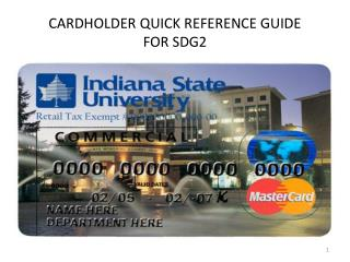 CARDHOLDER QUICK REFERENCE GUIDE FOR SDG2