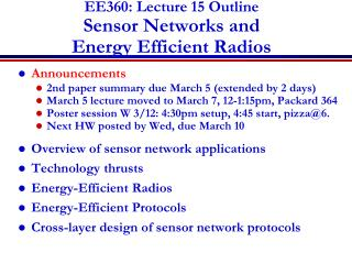 EE360: Lecture  15  Outline Sensor  Networks and  Energy Efficient Radios