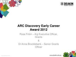 ARC Discovery Early Career Award 2012