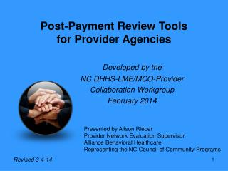 Post-Payment Review Tools for Provider Agencies
