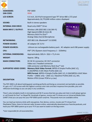 HARDWARE: PSP-3000 EAN CODE: XXXX