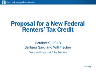 Proposal for a New Federal Renters� Tax Credit