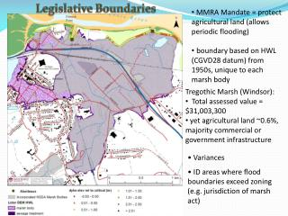 Variances  ID  areas where flood boundaries exceed zoning (e.g. jurisdiction of marsh act )