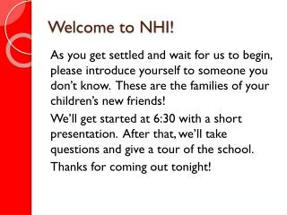 Welcome to NHI!