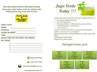 Jugo Verde  Today  !!!