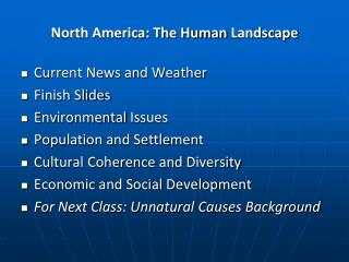North America: The Human  Landscape