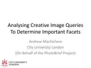 Analysing Creative Image Queries To Determine Important Facets