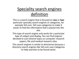 Speciality search engines definition