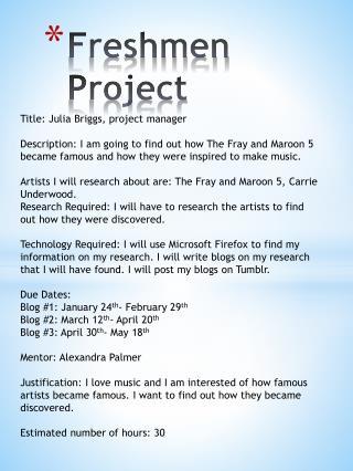 Freshmen Project