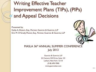 Writing Effective Teacher Improvement Plans (TIPs), (PIPs) and Appeal Decisions