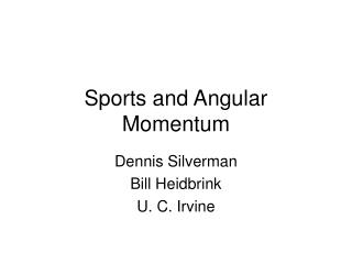 sports and angular momentum