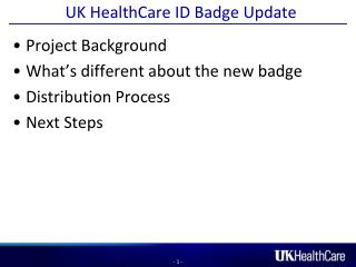 UK HealthCare ID Badge Update