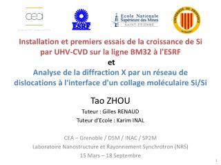 Tao ZHOU Tuteur : Gilles RENAUD Tuteur d'Ecole : Karim INAL CEA – Grenoble / DSM / INAC / SP2M Laboratoire Nanostructur