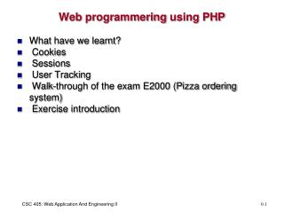 Web  programmering  using PHP